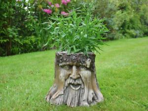 Tree Trunk Stump Planter Wood Effect Novelty Mans Face Patio Ornament Plant Pot