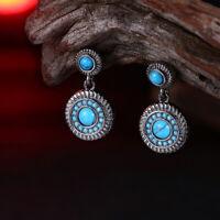 Elegant 925 Sterling Silver Turquoise Hoops Hoop Earrings Southwest Jewelry