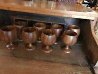 Vintage Mid Century Modern Burlwood Cocktail Tiki Glass Set Of 8