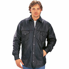 Motorcycle Leather Shirt with Metal Snaps (C125)