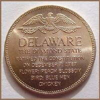 DELAWARE - Beautiful Shell BRONZE Coin - FRANKLIN Mint - UNCIRCULATED