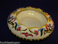 VTG. MAJOLICA ASHTRAY/DISH HAND PAINTED ART POTTERY SIGNED-ITALY-