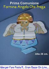PRIMA COMUNIONE ANGELO CHE PREGA 28 cm minishape formina Festa Party veste azzur