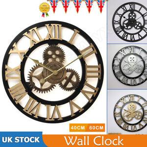 UK LARGE WALL CLOCK OUTDOOR GARDEN Big ROMAN NUMERALS GIANT OPEN FACE METAL