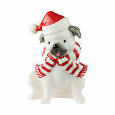 Pug Dog wearing Santa Hat ceramic figurine Christmas Decor Dept 56 New