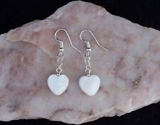 Lovely Mother Of Pearl 12mm Heart,Heart Link,925 Sterling Silver Hook Earrings.
