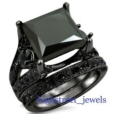 3.34 Ct Black Diamond Bridal Set 925 Black Silver Engagement Ring New #!