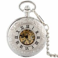 Luxury Silver Vintage Double Hunter Roman Dial Skeleton Pocket Watch Mechanical