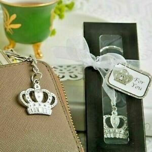 Majestic Silver Crown Key Chain Wedding Bridal Shower Party Gift Favors