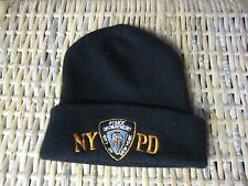 NYPD NY PD New York Police Department BLACK winter CAP hat Fold beanie EUC