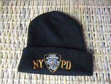 NYPD NY PD New York Police Department BLACK winter CAP hat Fold beanie EUC