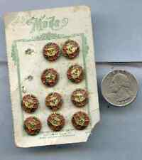 Vintage Sewing Metal Button Mode Made in Czechoslovakia BU126 on Card