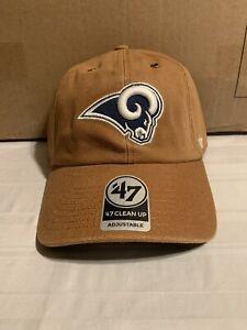 Los Angeles Rams NFL '47 Brand Carhartt Mens Brown Clean Up Adjustable Hat New