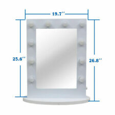 Hollywood Tabletops Lighted Makeup Mirror Vanity White Dimmer 12 LED Bulbs