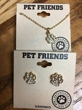 NWT Pet Friends Rhinestone And Gold Paw Print Necklace And Earring Set