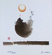 IRENE CHOU caligraphy HAND SIGNED ORIGINAL 1985 LITHOGRAPH 周绿云 CHINESE w. Card