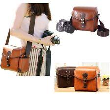 Vintage Leather Shoulder Camera Bag For Canon 550D Nikon DSLR Case Brown Hot