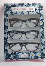 3 Pack +2.50 Isaac Mizrahi Premium Reading Glasses Multi-Color Designer Readers