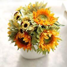1 Bunch Artificial Sunflowers Fake Flower Slik Floral Home Garden Bouquet Decor