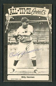 Billy Herman Autographed Signed 1975 TCMA All Time Greats Postcard Cubs 156662