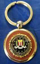 "DOJ Federal Bureau of Investigation Gold Key Chain w BLACK FBI Emblem 3"" X 1.5"""