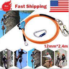 8ft Steel Wire Core Lanyard Kit With Hook Carabineer Climbers Tree Climbing
