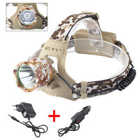 20000LM XML T6 LED Head Torch 18650 Headlamp Camouflage Headlight+2XCharger