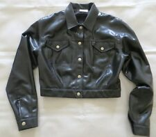 BLACK LATEX RUBBER CROPPED JEANS BIKER  JACKET MAC RAINCOAT MACKINTOSH