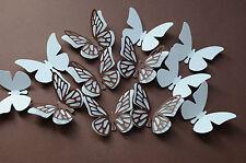 16 Set 3D Schmetterlinge Weiß Braun  Herbst Wanddeko