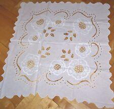 Tischdecke Decke Stickerei Lochstickere 90 x 83 cm Baumwolle weiss