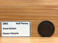 1861 GREAT BRITAIN QUEEN VICTORIA HALF PENNY Coin RARE!