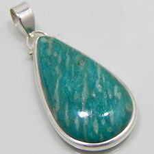 Genuine Amazonite Pure 925 Sterling Silver Handmade Jewelry Pendant 9 Gm