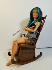 Vintage Tomy Musical Moving Brown Rocking Chair Barbie Dolls Size For Display