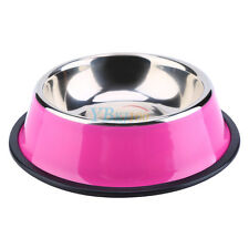 Pets Cat Dog Puppy Anti Skid Stainless Steel Feeding Food Drink Bowl Plate DH Pink S 18cm