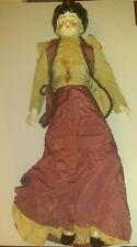 Antique Large Doll Curly Hair Style With Porcelain Hands And Shoes And Hair
