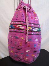 Mexican Vintage 90's Purple/Multi-color Cotton Bucket/Shoulder Handbag