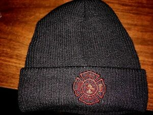 """Nylon Beanie with """"MALTESE CROSS Embroidered on hat. Navy Blue / RED"""