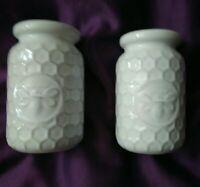 Pair Of Ceramic Bee Honeycomb Bud Flower Vases White Country Farmhouse Decor