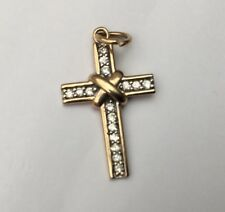 Vintage 9ct Gold Diamond Cross Stamped Weight 1.42g Height 22mm x 13mm