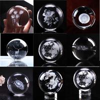 60MM 3D Crystal Ball Glass Laser Engraved Miniature Earth Dandelion Decor Gift r