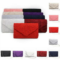 Women Fashion Floral Lace Clutch Envelope Bag Evening Wedding Bridal Chain Bags