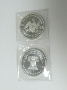 TWO 1985 US 1 oz .999 SILVER ROUNDS by A-MARK - Patriotic EAGLE and LIBERTY BELL