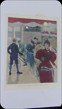 1896 MICHAUX CLUB BICYCLES CYCLISTS Colored HARPERS WEEKLY Magazine DRAWING