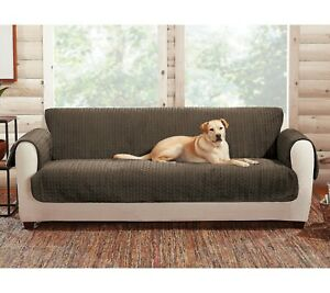 sure fit Reversible  Quilted Cable/Sherpa SOFA sure fit chocolate