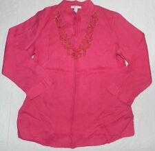 WOMENS pink linen BLOUSE SHIRT TOP tunic = STYLE & CO = SIZE 16 = BA25