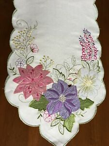 Embroidered  Floral Flower Table Runner by Spring Kitchen  14 X 70