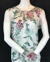 "LAURA ASHLEY Women's Floral Print Viscose Short Sleeve Blouse UK 18 P2P 22"""