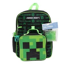 Minecraft 5 Piece Backpack Creeper Lunch Bag Water Bottle Ice Pack Squishy Set