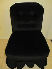 Vintage Black BOUDOIR Vanity Chair w/ Cover