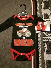 "Tractor Pulling CASE IH ""Well Fed Because of Red"" Boys one piece suit newborn"